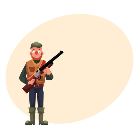 aim: Funny male hunter in hunting vest and rubber boots holding a rifle, cartoon vector illustration with place for text. Full length portrait of typical duck hunter with a gun, rifle