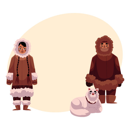 eskimo dog: Eskimo, Inuit man and woman in warm winter clothes with white fluffy sledge dog, cartoon vector illustration with place for text. Full length portrait of Eskimo, Inuit couple and sledge dog