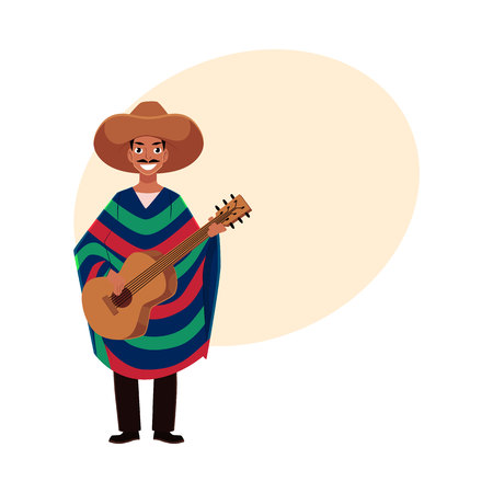 Mexican man in traditional national sombrero and poncho playing guitar, cartoon vector illustration with place for text. Full length portrait of Mexican man.
