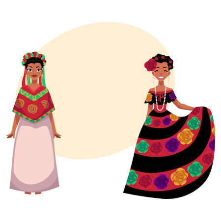 Two Mexican woman in traditional national dress decorated with embroidered flowers, cartoon vector illustration with place for text. two Full length portrait of Mexican woman.