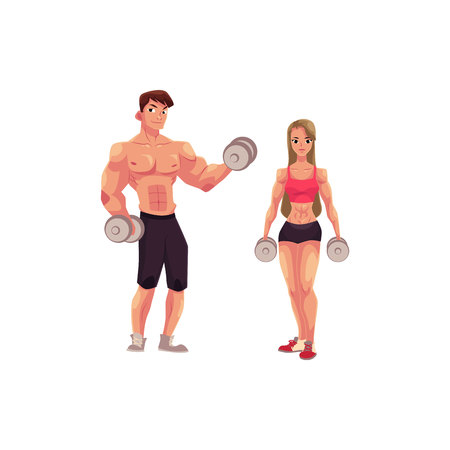 Man and woman bodybuilders, weightlifters working out, training with dumbbells, cartoon vector illustration isolated on white background. Full length portrait of bodybuilders with dumbbells