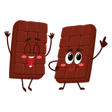 Two funny chocolate bar characters, one jumping excitedly, another standing like star,mascots, cartoon vector illustration isolated on white background.