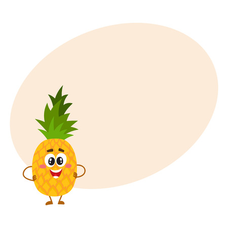 Cute and funny pineapple character with smiling face standing with hands on hips, cartoon vector illustration with place for text. Mascot standing hands on hips