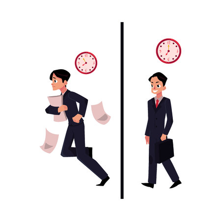 Young businessman, manager in business suit, hurrying and walking confidently to work, cartoon vector illustration isolated on white background. Businessman, going to work, late and in time