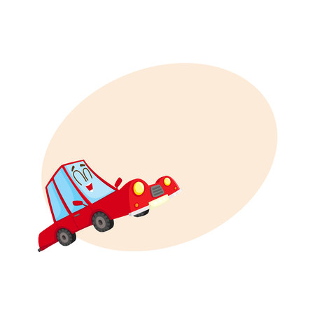 Cute and funny red car, auto character, happy and excited, cartoon vector illustration with place for text. Funny red car character, mascot with human face excited from happiness