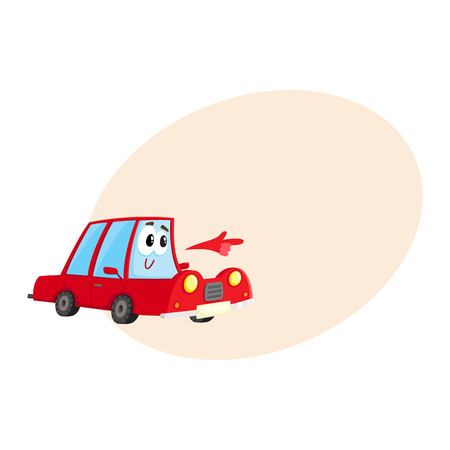 Cute and funny red car character pointing to something with its hand, cartoon vector illustration with place for text. Funny red car character, mascot pointing, drawing attention to something