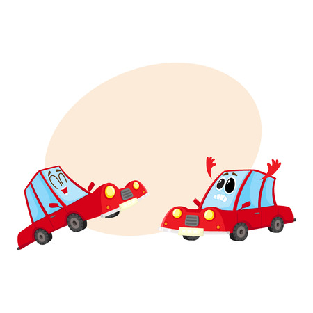 Two funny red car characters, one dismayed and despaired, another laughing happily, cartoon vector illustration with place for text. Mascots, laughing and sad.