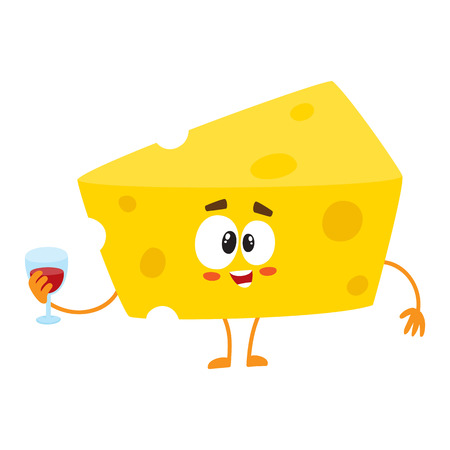 Cute and funny cheese chunk character holding glass of wine, cartoon vector illustration isolated on white background. Mascot with human face holding glass of wine