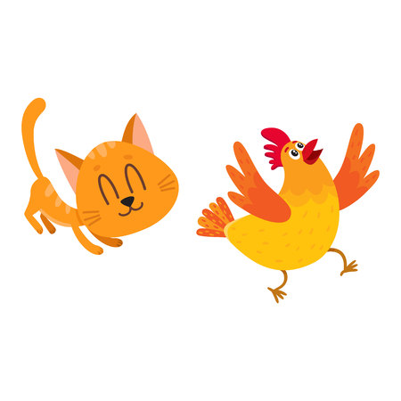 Funny red cat, kitten character chasing, playing with cackling chicken running away, cartoon vector illustration isolated on white background.