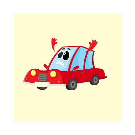 Divertido coche rojo, auto carácter arrojando sus brazos en consternación, desesperación, horror, dibujos animados ilustración vectorial aislados sobre fondo blanco. Mascota con el rostro humano triste, mostrando desesperación Vectores