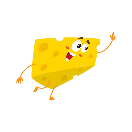 Cute and funny cheese chunk character pointing up with its finger, cartoon vector illustration isolated on white background. Mascot with human face pointing up
