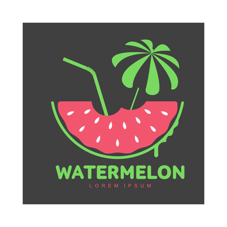 Logo template with watermelon slice, beach umbrella and cocktail straw, summer season concept, vector illustration isolated on black background. Watermelon logotype, logo design, summer vacation