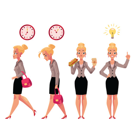 Young beautiful businesswoman in various business situations, cartoon vector illustration isolated on white background. Pretty businesswoman in various situations, career concept