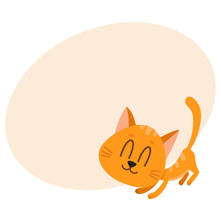 fondle: Cute and funny red cat character, fawning, asking for caress, cartoon vector illustration with place for text. Cute and funny red cat character, nice and sweet with tail up
