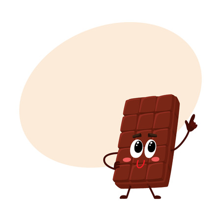 Cute chocolate bar character with funny face, speaking and pointing up, cartoon vector illustration with place for text. Funny chocolate character, mascot, emoticon Illustration