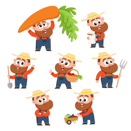 Funny farmer, gardener character in different poses working in the garden, harvesting, happy, cartoon vector illustration isolated on white background. Design elements