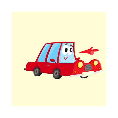 Carácter lindo y divertido auto rojo que apunta a algo con su mano, ilustración vectorial de dibujos animados aislado sobre fondo blanco. Mascota apuntando, llamando la atención a algo Vectores