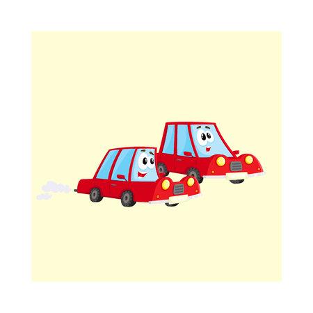 Dos carros lindos y divertidos del coche rojo que compiten con, apresurándose en algún lugar a toda velocidad, ilustración del vector de la historieta aislada en el fondo blanco. Mascota corriendo entre ellos