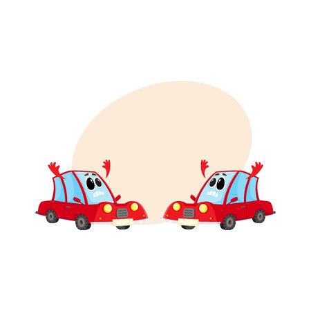 Dos divertido coche rojo, auto personajes absolutamente consternado y desesperado, ilustración vectorial de dibujos animados con lugar para el texto. Mascotas con manos en desesperación