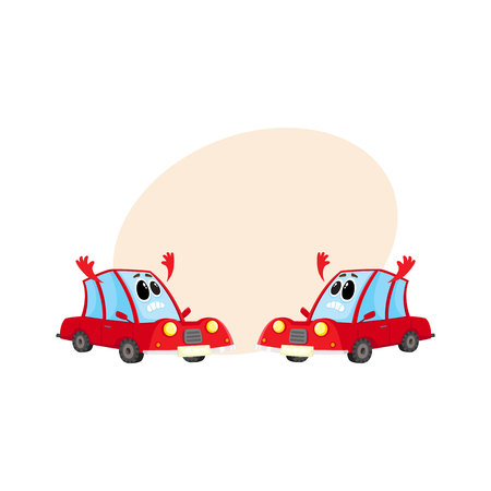 Two funny red car, auto characters absolutely dismayed and despaired, cartoon vector illustration with place for text. Mascots with flinging hands in despair