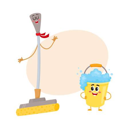 Funny sponge mop and soap foam bucket characters with smiling human faces for floor washing, cartoon vector illustration with place for text.