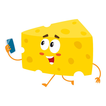 Cute and funny cheese chunk character holding smartphone, cartoon vector illustration isolated on white background. Mascot with human face running with phone in hand. Çizim