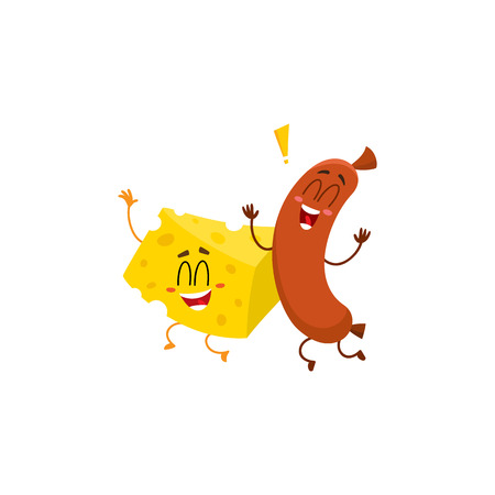 Frankfurter sausage and cheese chunk characters dancing happily together, cartoon vector illustration isolated on white background. Funny cheese and sausage characters, mascots with human faces Çizim