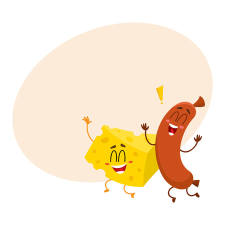 Frankfurter sausage and cheese chunk characters dancing happily together, cartoon vector illustration with place for text. Mascots with human faces Çizim