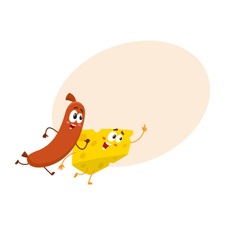 Frankfurter sausage and cheese chunk characters running, hurrying somewhere together, cartoon vector illustration with place for text. Mascots with human faces