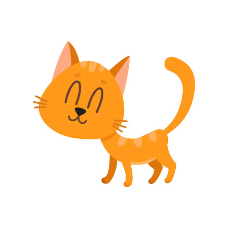 Cute and funny sweet red cat character, standing with eyes closed from pleasure, cartoon vector illustration isolated on white background.Nice and sweet