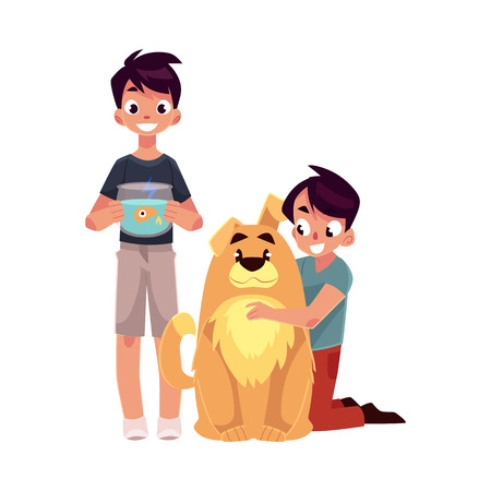 and two friends: Two teenage boys, children, kids, one hugging big fluffy dog, another holding fish bowl, cartoon vector illustration isolated on white background. Illustration