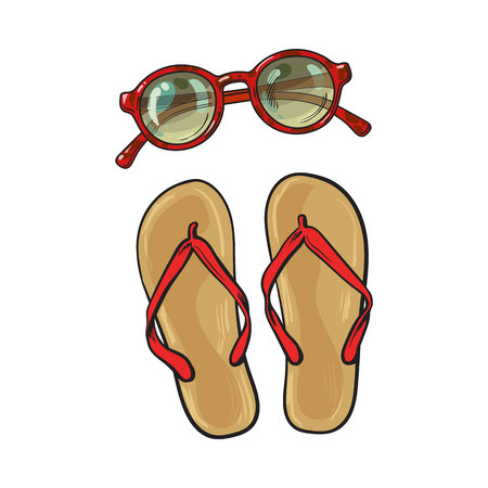 Pair of flip flops and round sunglasses, summer objects, vacation attributes, sketch vector illustration isolated on white background. Hand drawn flip flops, sandals and round sunglasses Illustration