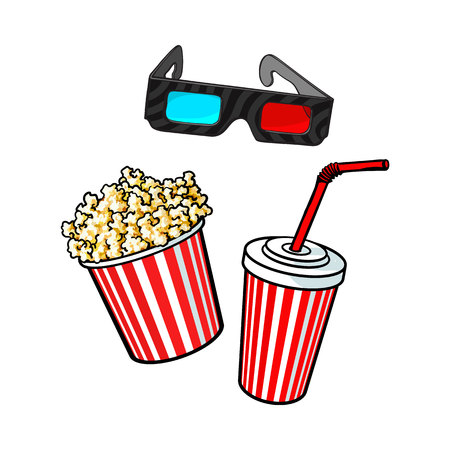 features: Cinema objects - popcorn bucket, 3d glasses and soda water in paper cup, sketch vector illustration isolated on white background. Illustration