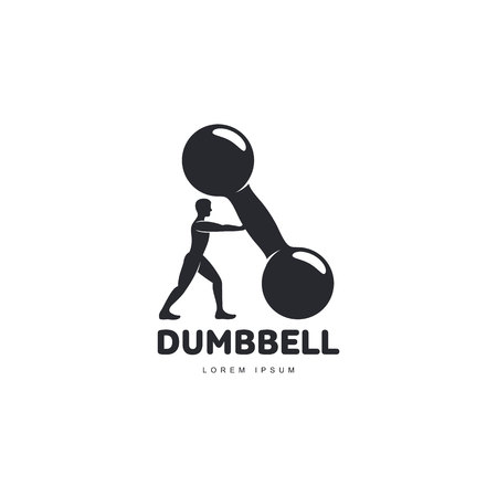 barbel: Graphic logo template with full length figure of bodybuilder man supporting a big dumbbell, vector illustration isolated on white background.