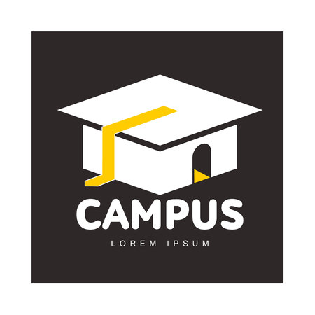 Graphic three colored square academic, graduation cap logo template, vector illustration isolated on black background.