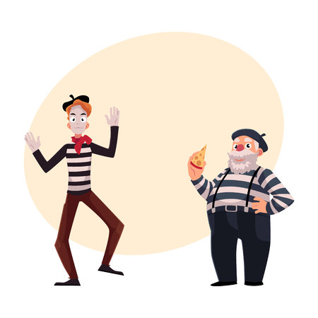 Two French mimes, young and old, in traditional costumes as symbols of France, cartoon vector illustration with place for text. French mime characters, slim and fat, young and old Illustration