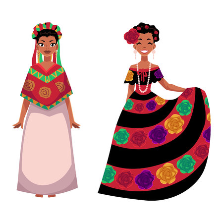 two Mexican woman in traditional national dress decorated with embroidered flowers, cartoon vector illustration isolated on white background. two Full length portrait of Mexican woman in dress Illustration