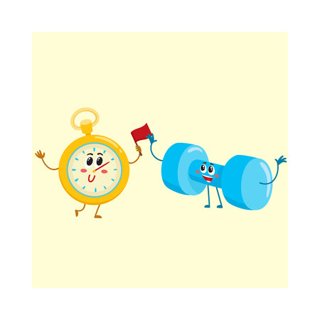 Funny stopwatch and dumbbell characters with human faces, sport equipment, cartoon vector illustration isolated on white background. Illustration