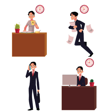 hurrying: Work day, morning of businessman - breakfast, hurrying to work, talking by phone, sitting in office, cartoon vector illustration isolated on white background.