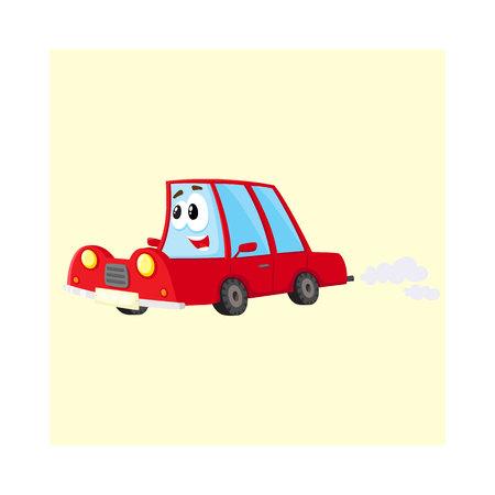 Coche rojo lindo y divertido, carácter automático apresurándose en alguna parte, ilustración vectorial de dibujos animados aislado sobre fondo blanco.
