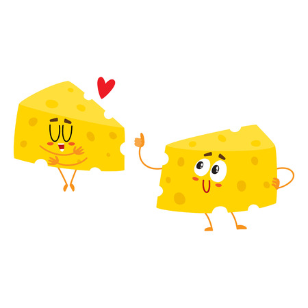 Two funny cheese chunk characters, good quality concept, showing love, cartoon vector illustration isolated on white background.