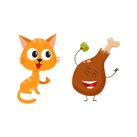 heartily: Cute and funny red cat, kitten character looking heartily at chicken stick, drumstick, cartoon vector illustration isolated on white background. Illustration
