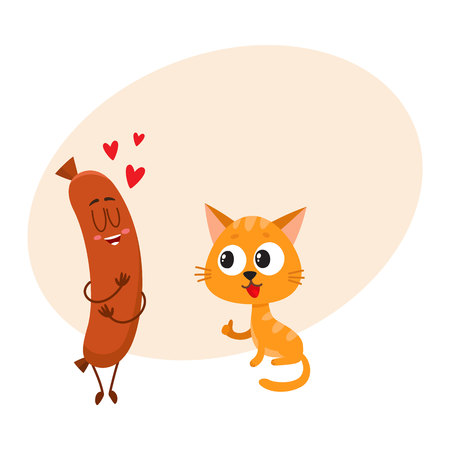 Cute and funny red cat, kitten character looking heartily at tasty sausage, cartoon vector illustration with place for text.