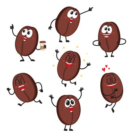 De leuke en grappige karakters van de koffieboon met menselijk gezicht die verschillende emoties tonen, beeldverhaal vectordieillustratie op witte achtergrond wordt geïsoleerd. Stock Illustratie