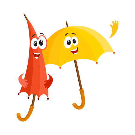 eyes are closed: Two funny umbrella characters with human faces, open and closed, saying hello, cartoon vector illustration isolated on white background.