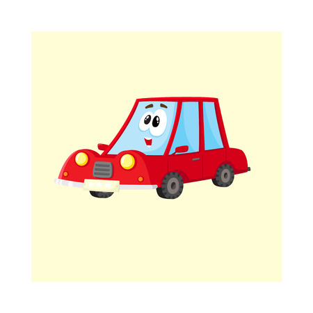 Cute and funny red car, auto character with human face, surprised, excited, curious, cartoon vector illustration isolated on white background. Funny red car character, mascot, awed and surprised