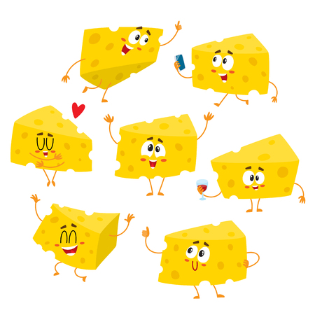 Set of cute and funny cheese chunk character showing different emotions, cartoon vector illustration isolated on white background.