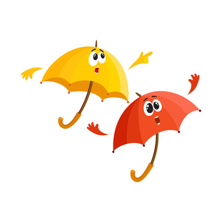Two funny umbrella characters with human faces pointing to something and fling arms up with surprise, cartoon vector illustration isolated on white background. Couple of umbrella, parasol characters