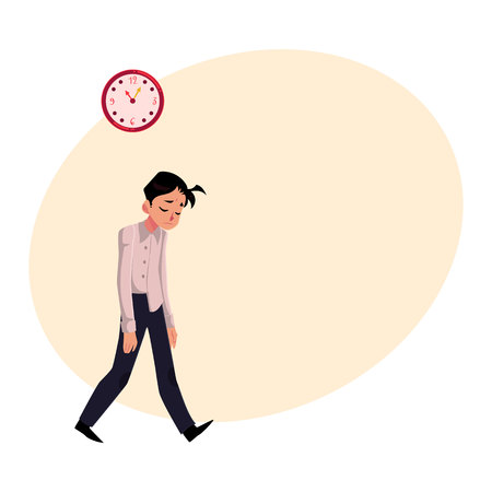 Young tired, upset, exhausted businessman feeling a mess, dragging feet home after hard working day, cartoon vector illustration with place for text. Businessman, employee sad, upset, tired