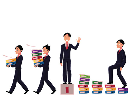 Businessman carrying document folders, standing on victory podium, career ladder, cartoon vector illustration isolated on white background. Businessman in various business situations, career concept